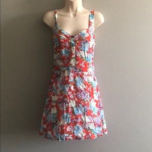 LF Red Floral Cutout Dress